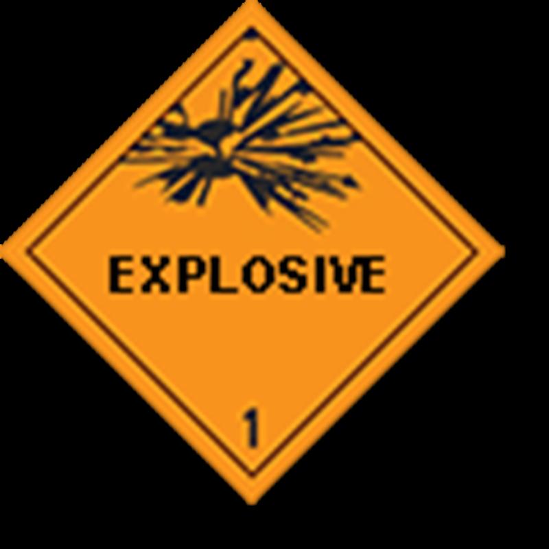 """1 Ontplofbare stoffen met tekst (""""explosive"""")"""