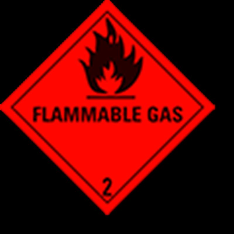 """2.1 Brandbare gassen met tekst (""""Flammable Gas"""")"""