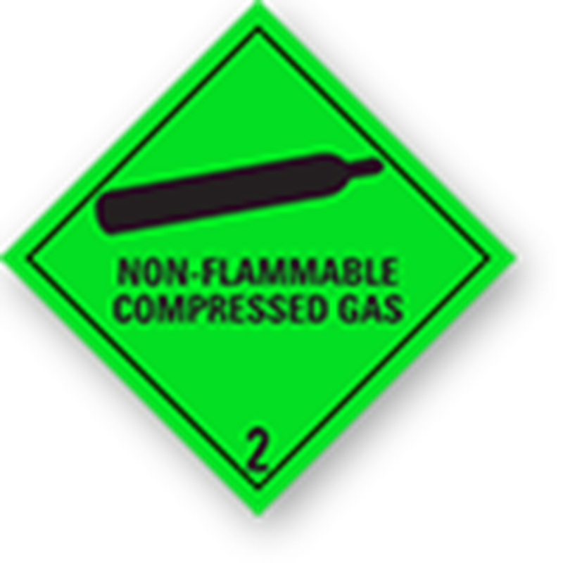 "2.2 Samengeperste gassen met tekst (""Non-Flammable, Compressed Gas"")"