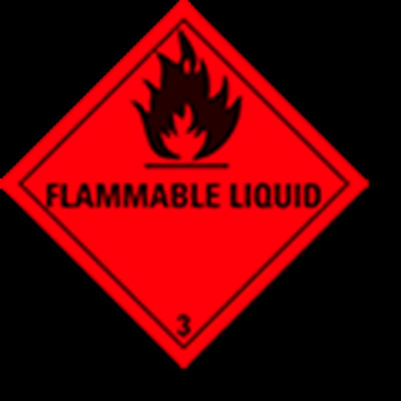 """3.0 Brandbare vloeistoffen met tekst (""""Flammable Liquid"""")"""