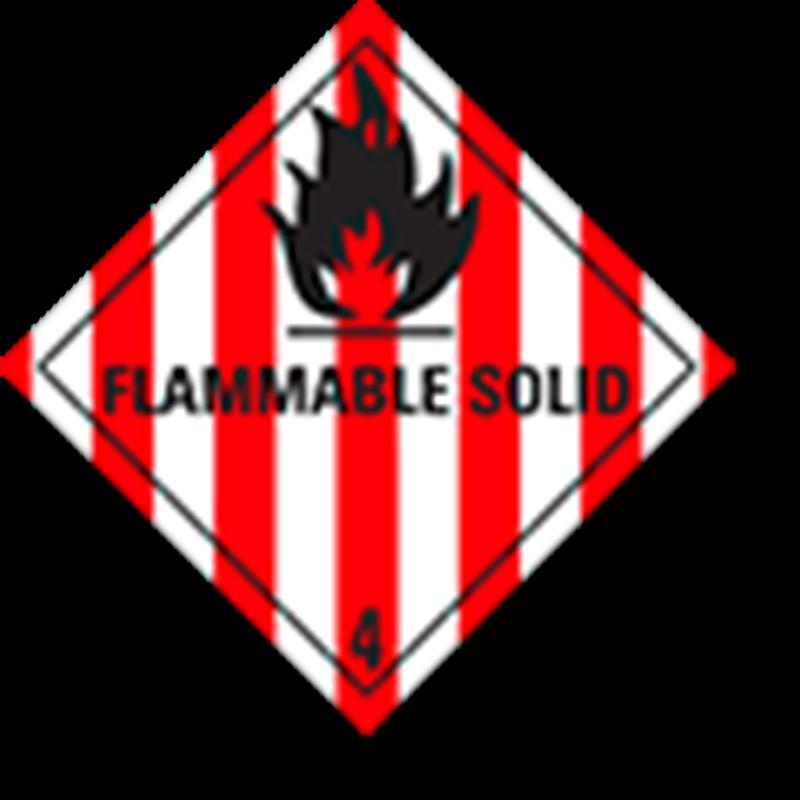 "4.1 Brandbare vaste stoffen met tekst (""Flammable Solid"")"