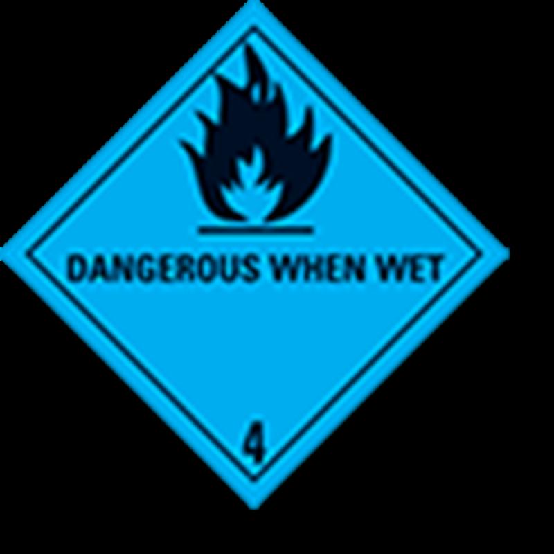 """4.3 Stoffen die in contact met water brandbare gassen ontwikkelen met tekst (""""Dangerous When Wet"""")"""