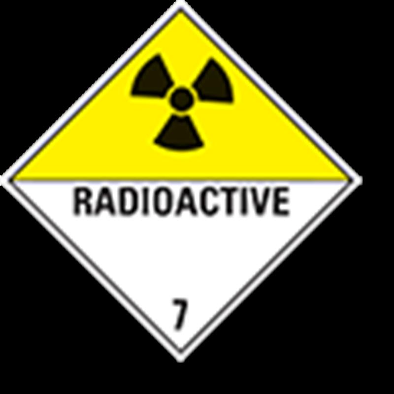"""7.0 Radioactieve stoffen met tekst (""""Radioactive"""")"""