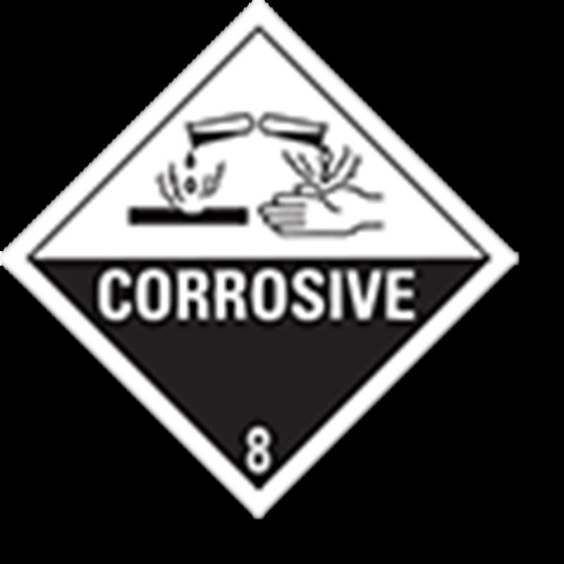 """8.0 Bijtende stoffen met tekst (""""Corrosive"""")"""