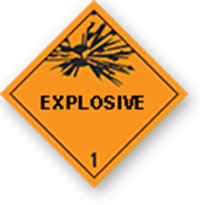 "1 Explosive goods with text (""Explosive"")"