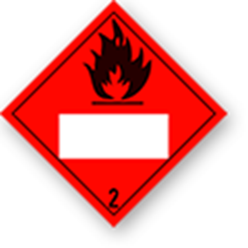 2.1 Flammable gases with white UN field