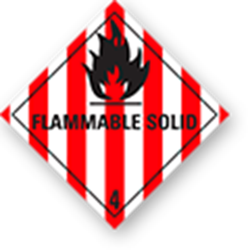 "4.1 Flammable solids with text (""Flammable Solid"")"