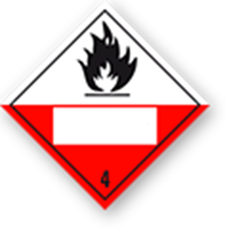 4.2 Substances liable to spontaneous combustion with white UN field