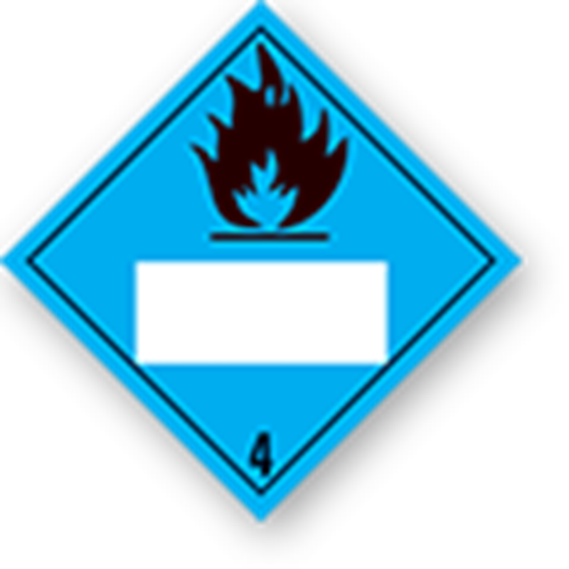 4.3 Substances that create flammable gases when in contact with water with white UN field