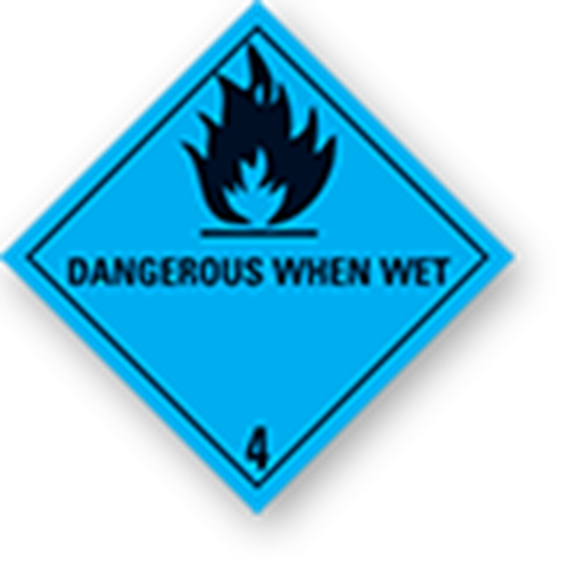 "4.3 Substances that create flammable gases when in contact with water with text (""Dangerous When Wet"")"