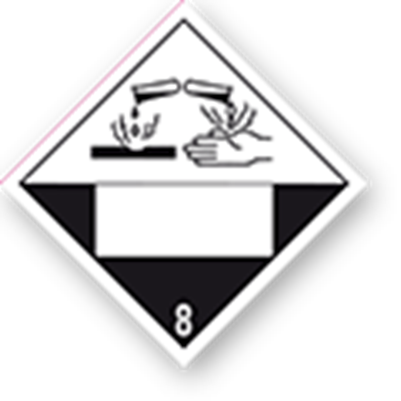 8.0 Corrosive substances with white UN field