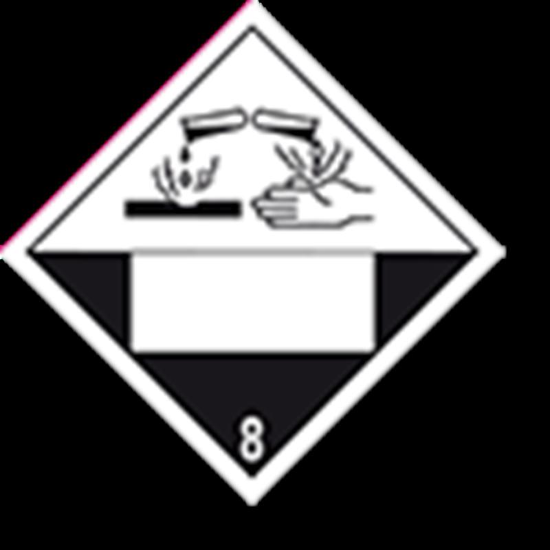 8.0 Corrosive substances with white UN field