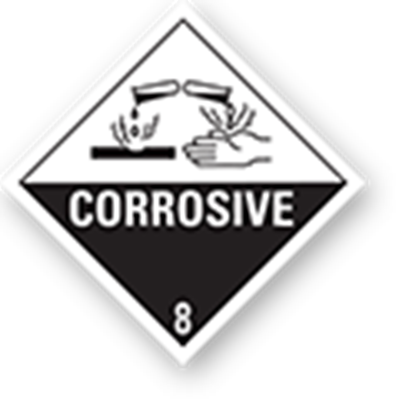 "8.0 Corrosive substances with text (""Corrosive"")"